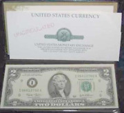 A 2003 2 Dollar Bill, Uncirc, Federal Reserve Note, Money Gift For Collection