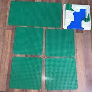 """Lot Of 7 Genuine Lego Duplo 15"""" Square Base Plates - 6 Green + Water Park"""