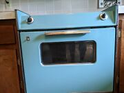 Rare 1960s Turquoise Ge Electric Range With Wall Control And Matching Double Sinks
