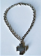 Vintage 1980s Sterling Silver Big Chunky Cross Chain Necklace Lot 16