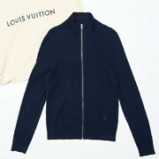 Louis Vuitton Damier Knit Cardigan Mens Navy Made In Italy Brand No.1372