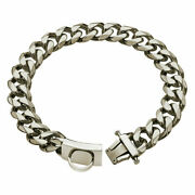 19mm Pet Dog 21 Chain Collar Heavy Duty Stainless Steel Latch Cuban Link Silver