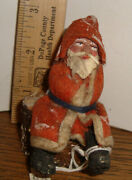 Antique German Santa On Stump Candy Container Christmas Ornament