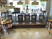 Beautiful Large 10' Long Antique Wood And Glass Display Case-guns,doll,knives,ww2