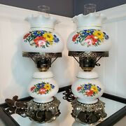 Pair Of Gone With The Wind Antique Hurricane Lamps Milk Glass Blue Floral 18.5