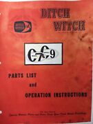 Ditch Witch C7 C9 Walk-behind Trencher Owner Service And Parts Manual Utility