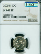 2005-d Roosevelt Dime Ngc Mac Ms67 Ft Pq Mac Finest And Spotless Pop-11 .