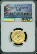 2016-w National Parks 5 Gold Ngc Ms-70 Mac Finest Mac Spotless .