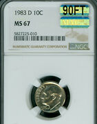 1983-d Roosevelt Dime Ngc Ms67 90ft Pq Mac Finest Mac Spotless 2250.00 In Ft.