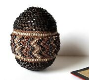 Antique Beaded Egg Glass Bead Beadwork Easter Egg Collectible Display