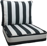 Deep Seat Cushions Back All Weather Large Size Patio Chair Furniture Black White