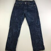 501 34x32 Blue Denim Straight Fit Button Fly Red Tab Mens G7_07