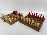 Antique Travel Chess Sets Lot Of 2. Bone. Early 1900s Made In England.