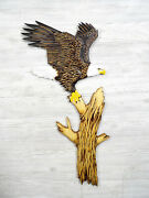 New Hand Carved Bald Eagle Ready To Fly Wall Art Chainsaw Wood Carving