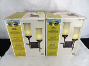 Pair - 2x - Hampton Bay 2-light Iron Oxide Sconce With Scavo Glass Shades
