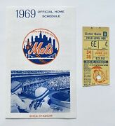 1969 New York Mets Official Home Schedule At Shea Stadium And Original Ticket Stub