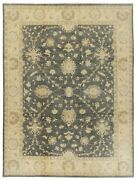 Hand Knotted Charcoal Ivory Peshawar Fine Wool Oriental Area Rug Carpet 9 X 12
