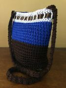 Multi-color Handmade Brown/blue Crochet Bag With Magnet Clasp Closure