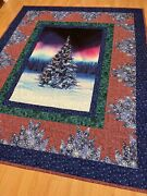 Handmade Northern Lights Christmas Tree Couch Quilt