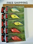 Lot Of 5 Rapala Dt-6 Mixed Colors Crank Bait Fishing Lures Tackle Box Find Nips