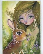 Aceo S/n L/e Woodland Sprite Girl Bunny Rabbit Forest Wild Flower Rare Art Print