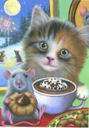 Aceo Christmas Season Tabby Cat Hot Chocolate Mouse Cookie Fireworks Snow Print