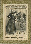 Antique German Aceo Size Victorian Man Woman Room Flowers Fountain Ad Old Print