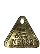 Ford Vintage Rouge Employee Brass Key Fob And Enameled Tie Pin