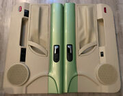04-10 Vw Beetle Convertible Door Panels Left And Right Cyber Green Beige Set Used