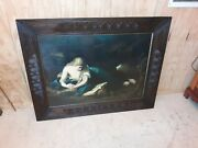 Very Large Carved Antique Picture Frame With Print Victorian Aesthetic