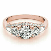 14k Solid Rose Gold 1.50 Ct Diamond Engagement Anniversary Ring Size 4.5 6 7 8