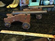 Vintage 9andrdquo Signal Cannons Brass And Wood Military Artillery-set Of 2 Desk Top