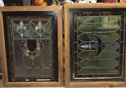 2 Large Antique Victorian/farmhouse Stained Glass Windows Art Deco Wood Frames