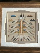Authentic Navajo Sandpainting By Daniel Smith, Jr. Framed