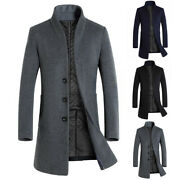 Men Winter Thick Coat Stand-up Collars Long Slim Fit Jacket Casual Coats Outwear
