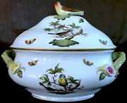 1005/ro Herend Hungary Rothschild Hp Porcelan Oval Soup Tureen W/lid Bird Finial