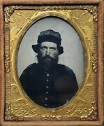 Civil War Soldier W/ Whipple Hat Brass Military Mat 1/9 Plate Ambrotype Photo
