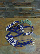 20s Deep Blue Navajo 6 Whirling Log Arrowhead Seed Bead Necklace Excellent Cond