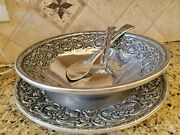 Wilton Armetale Pewter William And Mary Round Platter 18 Large Bowl 16 Utensils