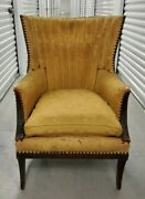 Antique Wingback Chair Fine Wood Unupholstered