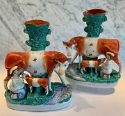 Pair Antique Staffordshire Large Cow Cows With Milkmaid Spill Vases 12 19th C
