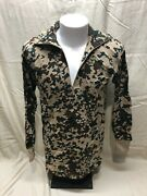 German Made Military 3 Color Camouflage Long Sleeve Zipper Shirt Extra Large