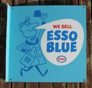 Esso Blue And039we Selland039 Double Sided C-1960and039s Fine Enamel Agents Sign 18 X 18