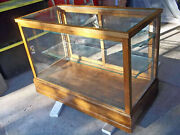 Wood Display Case With Glass Shelves