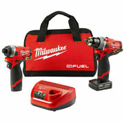 Milwaukee M12 Fuel 12v Cordless Combo Kit 1/2 Hammer Drill And 1/4 Impact Driver
