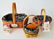 1997-99 Lot 3 Longaberger Easter Basket Set With Liners Inserts Info