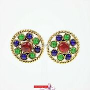 Vintage Round Flower Gripoix Glass Clip On Earrings 24k Gold Plated