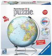 Ravensburger The World On V-stand Globe 540 Piece 3d Jigsaw Puzzle Game New