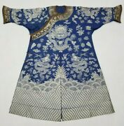 Antique Chinese Hand Embroidered Qing Dynasty Dragon Robe