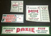 Mint Set Of 1940and039s Vintage Pflueger Fishing Tackle Box Labels Lures Reels